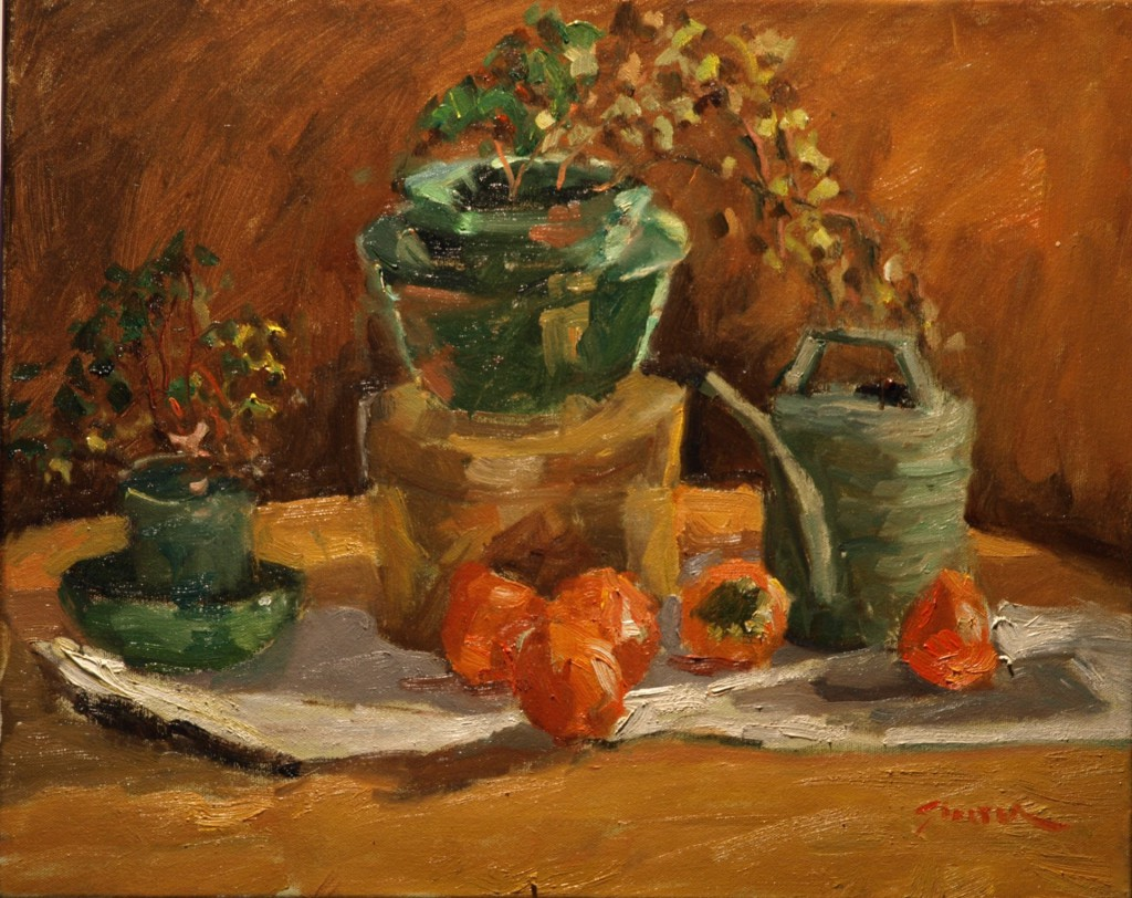 Still Life with Persimmons, Oil on Canvas, 16 x 20 Inches, by Richard Stalter, $425
