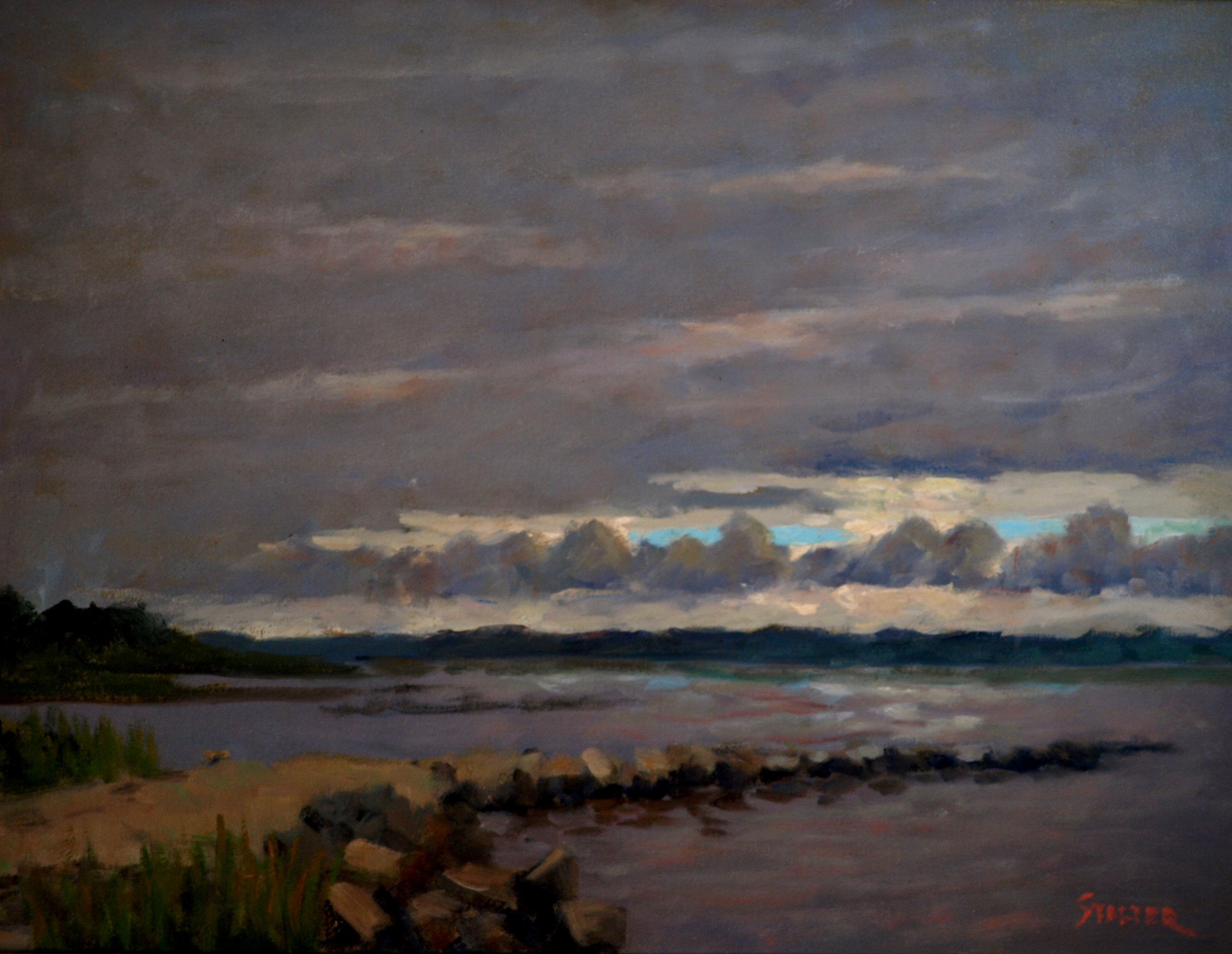 Stormy Morning - Stonington, Oil on Canvas, 20 x 24 Inches, by Richard Stalter, $850