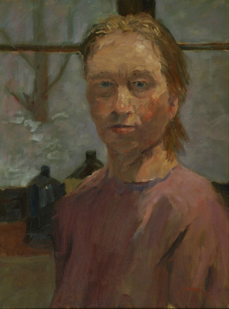Sue in the Studio, Oil on Canvas, 24 x 18 Inches, by Richard Stalter, $475
