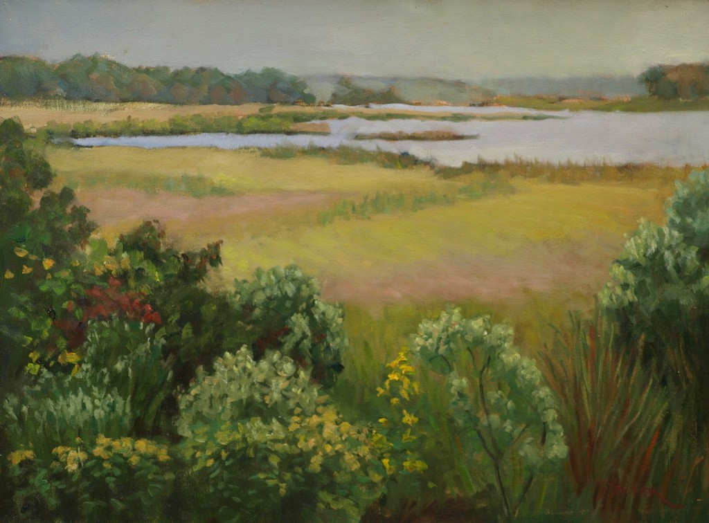 Summer - Barn Island, Oil on Canvas, 18 x 24 Inches, by Richard Stalter, $650