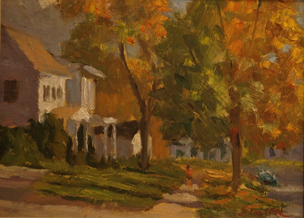 Sunset Along the Green, Oil on Panel, 9 x 12 Inches, by Richard Stalter, $225