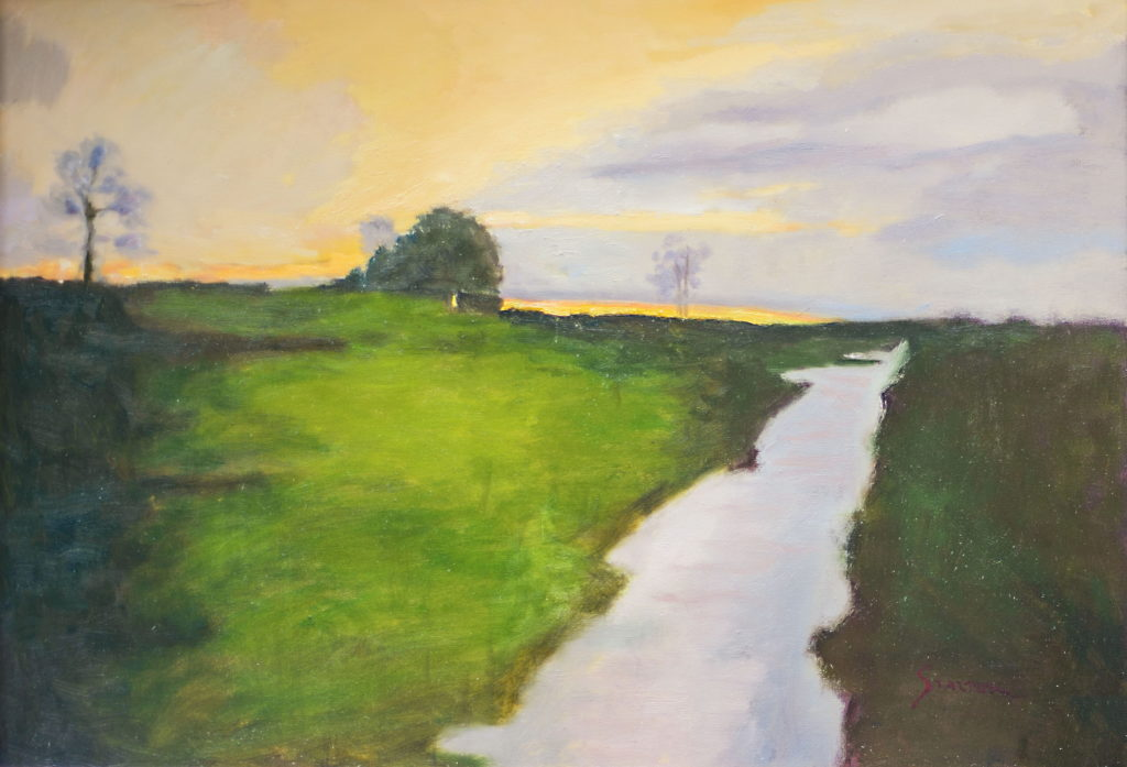 Sunset, Oil on Canvas, 24 x 36 Inches, by Richard Stalter (Sold)