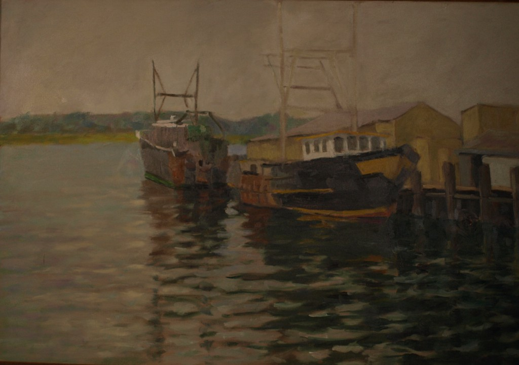 The Fleet is In, Oil on Canvas, 24 x 36 Inches, by Richards Stalter, $1200