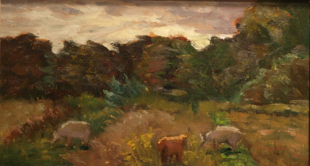 Three Sheep in Pasture, Oil on Panel, 8 x 14 Inches, by Richard Stalter, $225