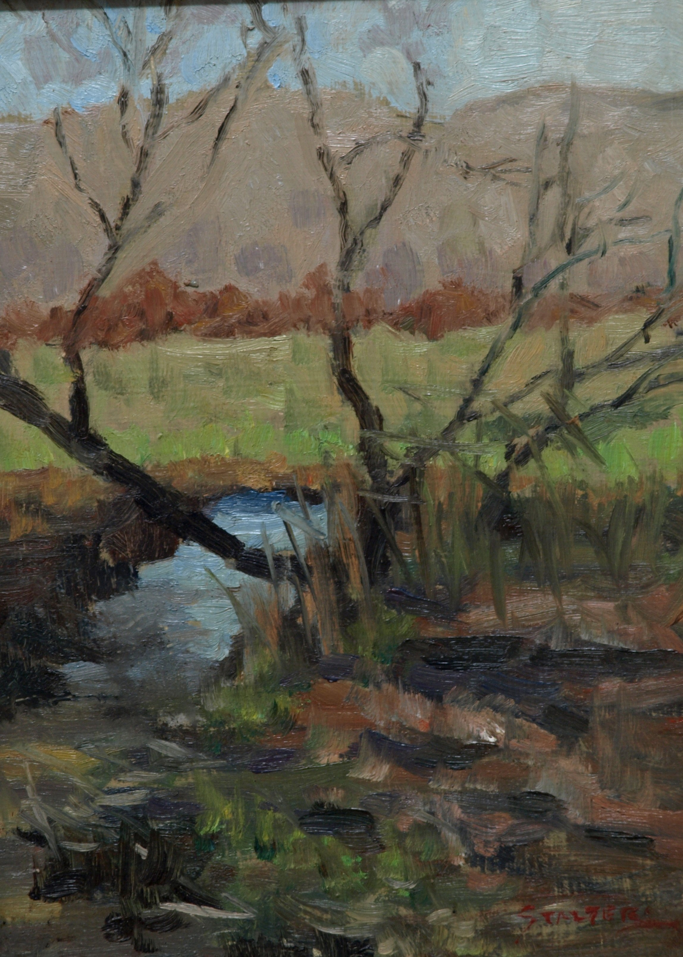 Tree by Brook, Oil on Panel, 12 x 9 Inches, by Richard Stalter, $225