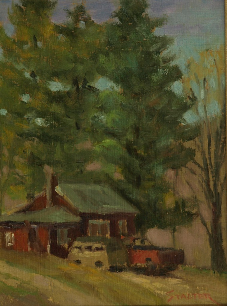 Truck and Van, Oil on Panel, 12 x 9 Inches, by Richard Stalter, $225