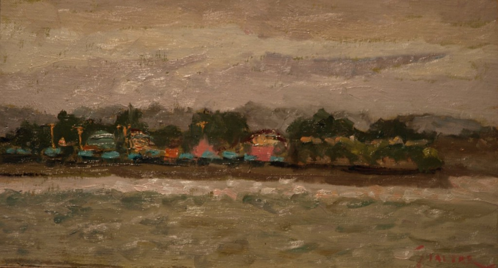 View from the Pier, Oil on Panel, 8 x 14 Inches, by Richard Stalter, $225