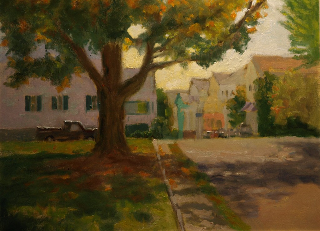 Water Street - Stonington, Oil on Canvas, 18 x 24 Inches, by Richard Stalter, $650