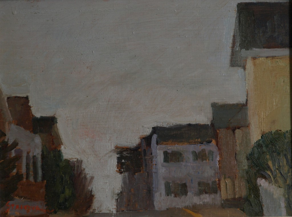 Water Street - Overcast, Oil on Panel, 9 x 12 Inches, by Richard Stalter, $225