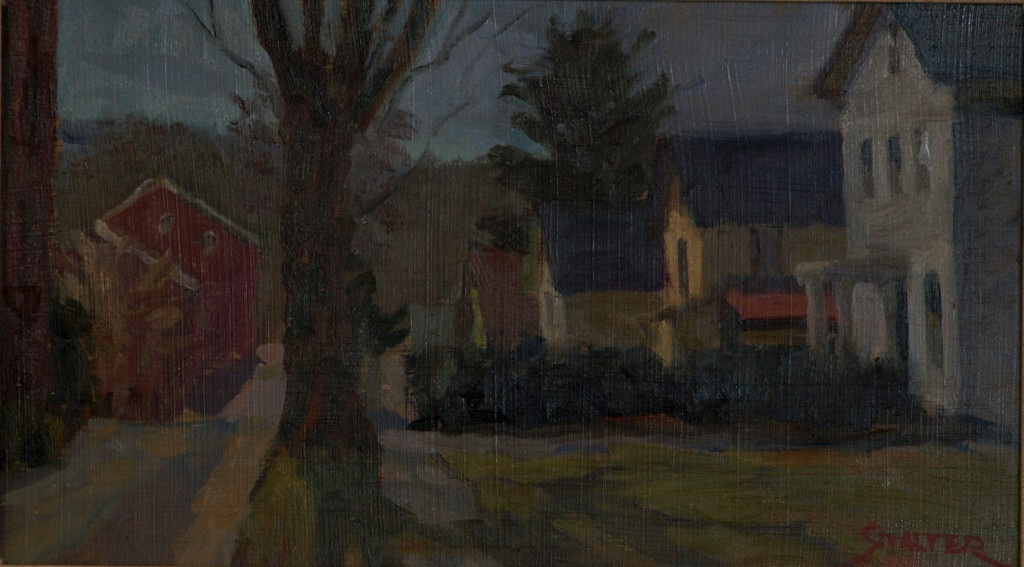 West Street, Oil on Panel, 8 x 14 Inches, by Richard Stalter, $225