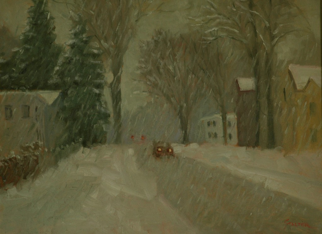 Winter Storm, Oil on Canvas, 18 x 24 Inches, by Richard Stalter, $475