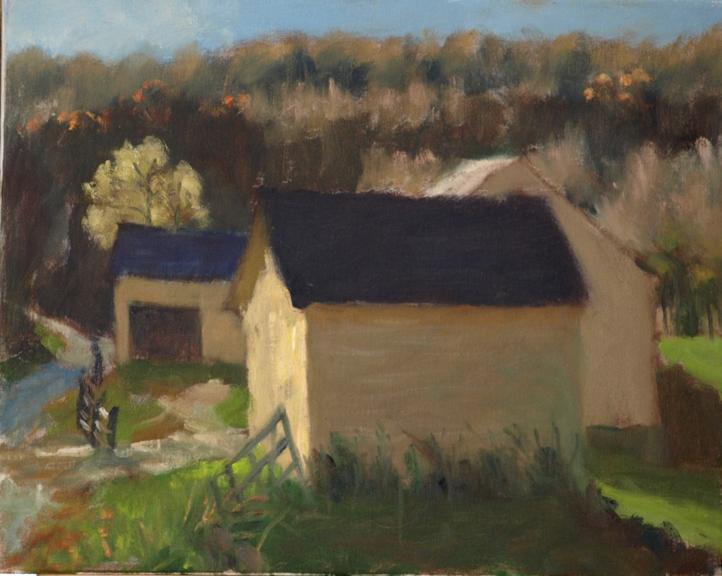 Yellow Barns - Sunset Light, Oil on Canvas, 16 x 20 Inches, by Richard Stalter, $425