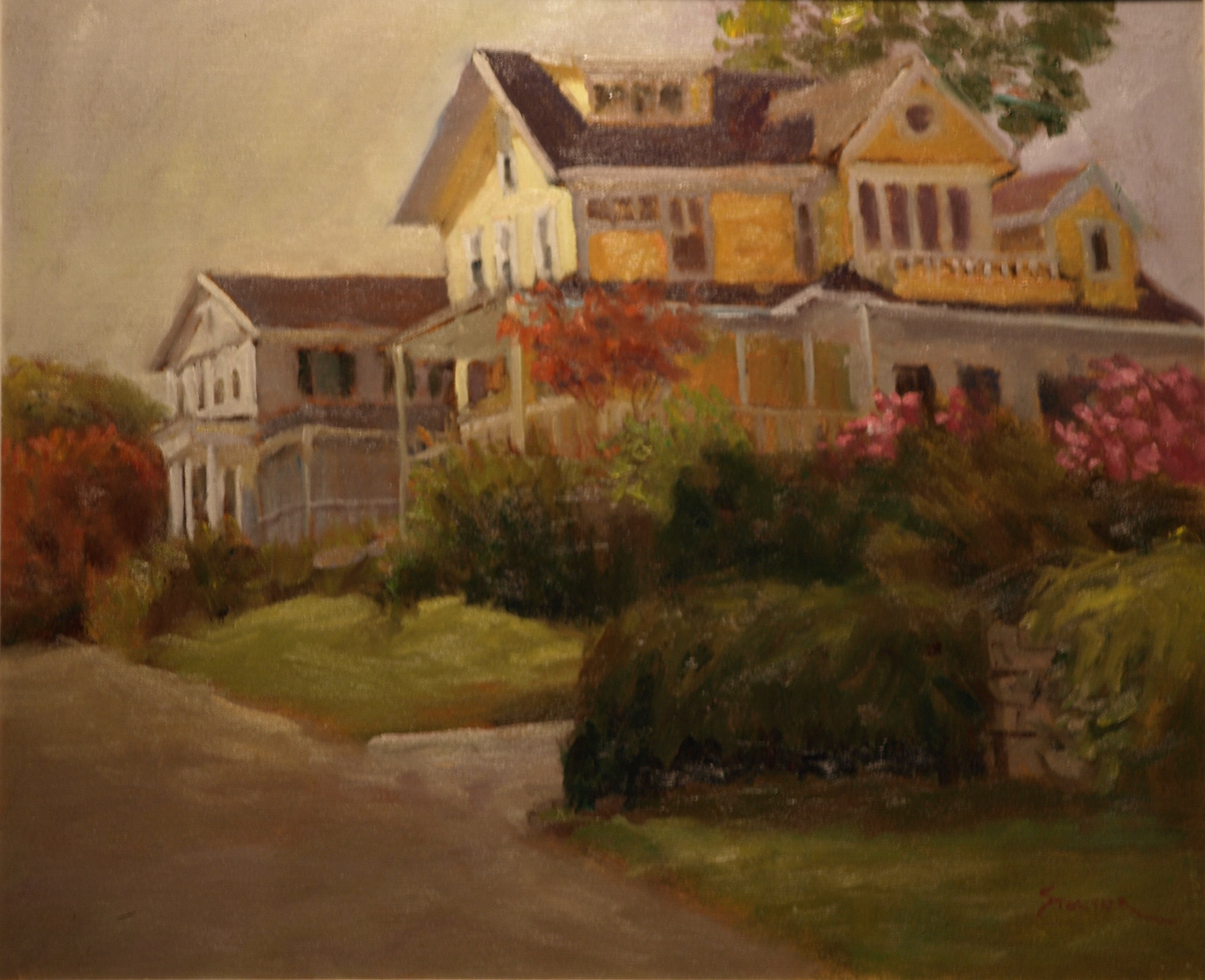 Yellow House - Noank, Oil on Canvas, 20 x 24 Inches, by Richard Stalter, $850